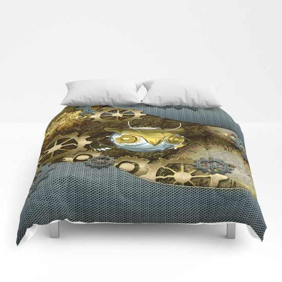 Steampunk, awesome owl Comforters