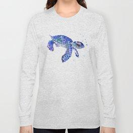 Cute Blue Baby Sea Turtle. children illustration, turtle art Long Sleeve T-shirt