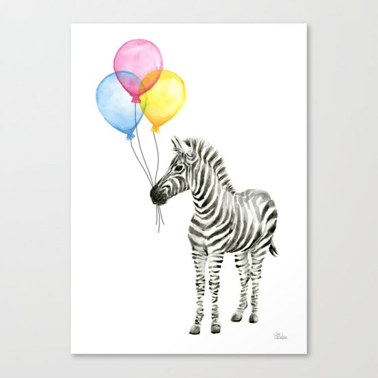 Zebra with Balloons Watercolor Baby Animals Canvas Print