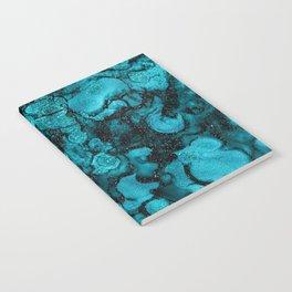 Blue Gemstone and Ink Malachite Glitter Marble Notebook