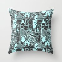 alphabet Throw Pillows featuring Alphabet by Clare Corfield Carr