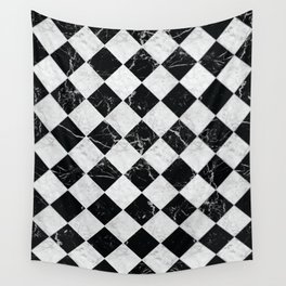 Cubic - Black & White Marble #895 Wall Tapestry