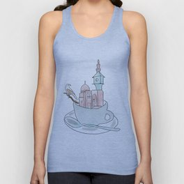 Cairo, Coffee, Birdhouse Unisex Tank Top