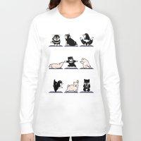 shiba Long Sleeve T-shirts featuring Shiba Yoga by Huebucket