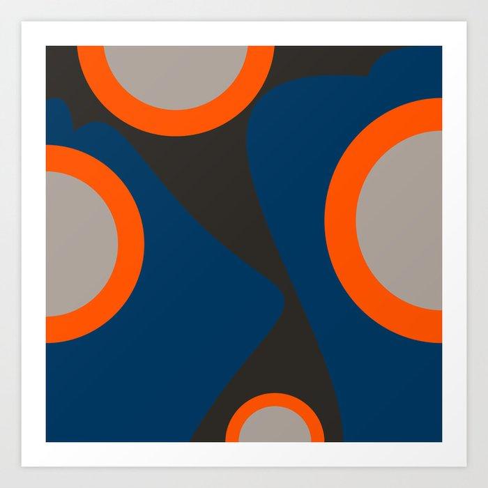 Abstract Shapes Blue And Orange On Black Art Art Print By Emmanuelsignorino