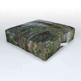 Flying through the mountains forest Outdoor Floor Cushion