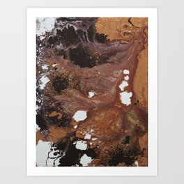 Copper abstract liquidity. Art Print