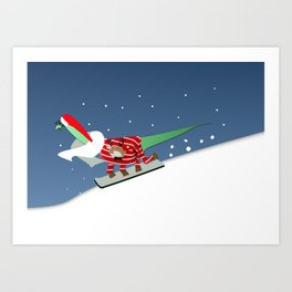 Dinosaur Snowboarding in Ugly Christmas Jumper Art Print