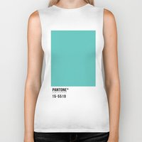 pantone Biker Tanks featuring Pantone Turquoise by Mariana Nabas