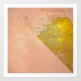 pink peach coral abstract minimal geometric pattern with gold texture Art Print
