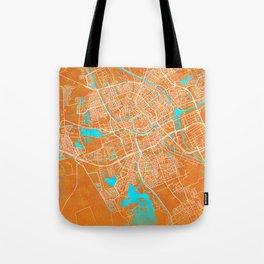 Groningen, Netherlands, Gold, Blue, City, Map Tote Bag