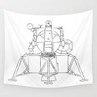lunar Wall Tapestries featuring Lunar module by Emma Harckham