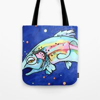 trout Tote Bags featuring Trout Pout by waggytailspetportraits