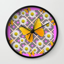 Yellow Butterfly on Lilac-pink Shasta Daisy Grey Pattern Wall Clock