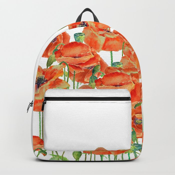 Watercolor poppy field illustration Backpack