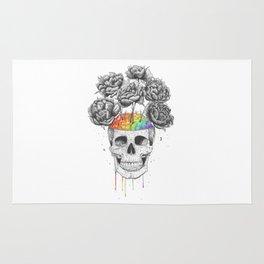 Skull with rainbow brains Rug