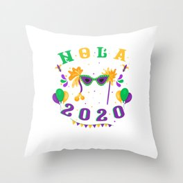 Nola 2020 Mardi Gras Street Party Carnival Gift Throw Pillow