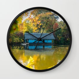 Home Sweet Home, Lake House, Fall Landscape, Lonely Home, Colorful Trees, Autumn Season, Wall Art Wall Clock