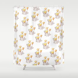 California Poppies, Watercolor Poppy Surface Pattern Design Shower Curtain