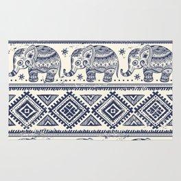 Vintage graphic vector Indian lotus ethnic elephant Rug