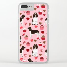 English Springer Spaniel love hearts valentines day gifts for dog person pet friendly pet portrait Clear iPhone Case