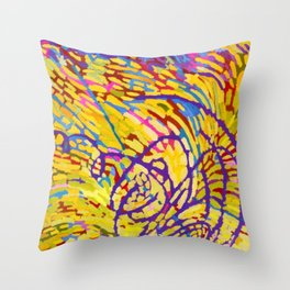 African American Masterpiece 'String Theory - Yellow Purple' by Mildred Thompson Throw Pillow