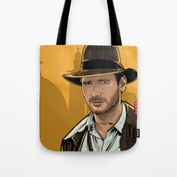 indiana jones Tote Bags featuring Indiana by Akyanyme