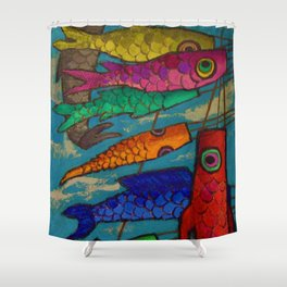 African American Masterpiece 'Chinese Kites' by Ellis Wilson Shower Curtain