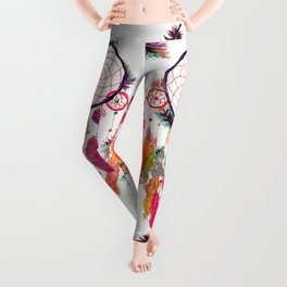 Hipster Watercolor Dreamcatcher Feathers Pattern Leggings