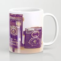 cameras Mugs featuring Vintage Cameras by D C Cash