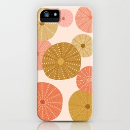 Sea Urchins in Coral + Gold iPhone Case