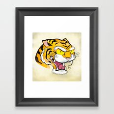 Tiger Tattoo Flash Framed Art Print