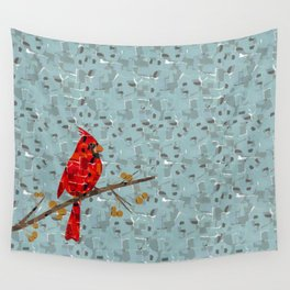 Red Cardinal Collage Wall Tapestry