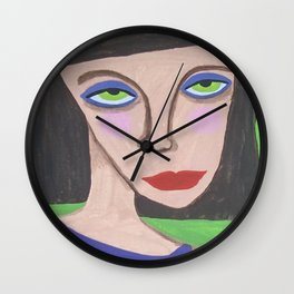 Abstract Portrait Green Eyed High Society Lady Outsider Artist Wall Clock