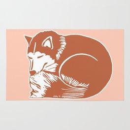 Sleeping Copper Brown Husky Rug