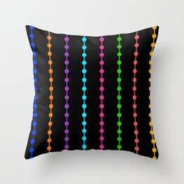 Geometric Droplets Pattern - Rainbow Colors Throw Pillow