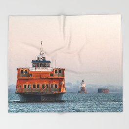 Lighthouse & Staten Island Ferry Throw Blanket
