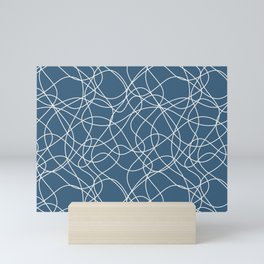 Off White Scribbled Lines Abstract Mosaic on Blue - 2020 Color Of The Year Chinese Porcelain Mini Art Print