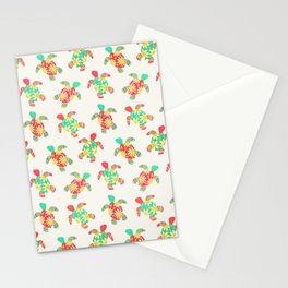 Cute Flower Child Hippy Turtles on Cream Stationery Cards