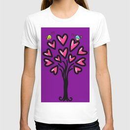 Two birds in love sitting on the tree, sketchy doodles T-shirt