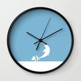 Ocean Dolphin Blue Heart Love Wall Clock