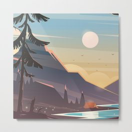 Mountain Sunset Illustration Metal Print