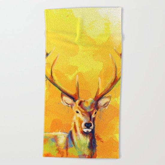 Forest King - Deer painting Beach Towel