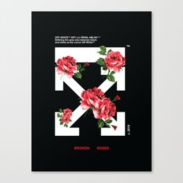 Broken Roses Off White Cross Arrows Canvas Print