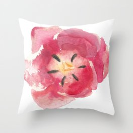 Just a red tulip Throw Pillow