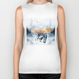 French bulldog and landscape abstract design Biker Tank