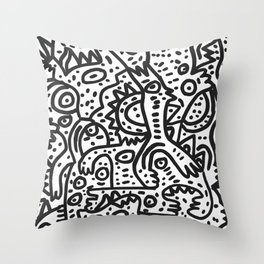 Hungry Monsters Street Art Graffiti Black and White  Throw Pillow