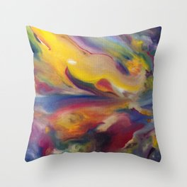 Yellow Horizon  Original Painting by Ciel Ellis Throw Pillow