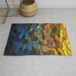 Stained Glass Painting, Blue to Yellow Rug