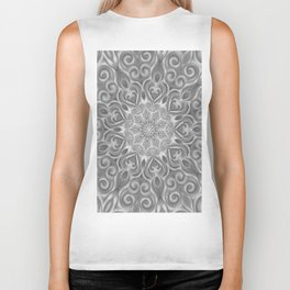 Gray Center Swirl Mandala Biker Tank